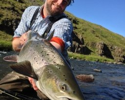 the writer - Nils Jorgensen with a switch caught Icelandic salmon